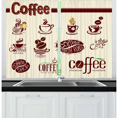 Coffee Curtains 2 Panels Set, Coffee House Pattern Abstract Set of Design Elements Traditional Grunge, Window Drapes for Living Room Bedroom, 55W X 39L Inches, Beige Maroon Green, by