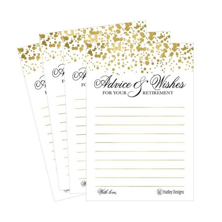 25 Gold Retirement Party Advice Well Wish Card For Men or Women Retired Supplies and Decoration Happy Retiree Celebration Gift Bucket List Wish Jar, Funny Personalized Officially Retired Centerpiece - Mason Jar Centerpieces For Graduation Party
