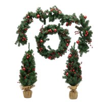 Belham Living 4 Piece Set of Garland, Wreath and 2 Trees Red/Green