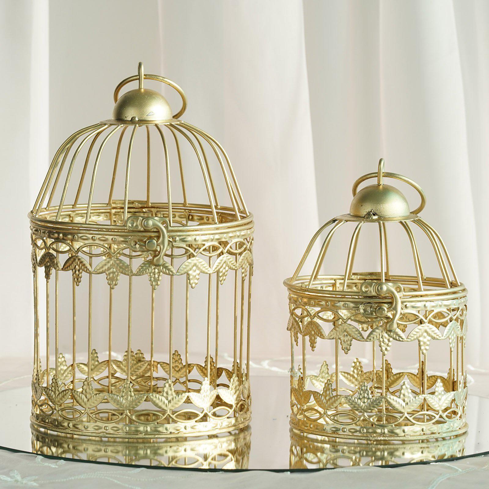 Set Of 2 7 And 9 Metallic Gold Bird Cage Card Holders Walmart Com Walmart Com