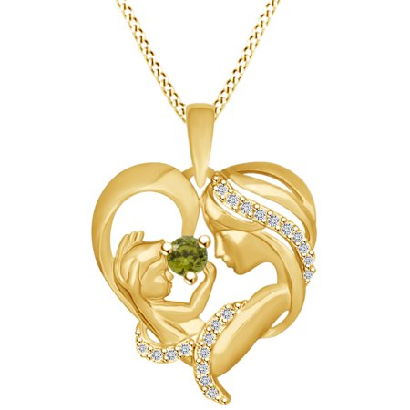 Round Cut Simulated Peridot & White Cubic Zirconia Mom With Child Heart Pendant Necklace In 14k Yellow Gold Over Sterling