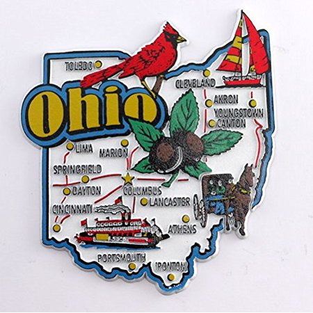 Ohio State Map and Landmarks Collage Fridge Souvenir Collectible Magnet (State Fridge Magnets)