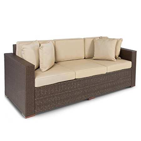 Best ChoiceProducts Outdoor Wicker Patio Furniture Sofa 3 Seater ...