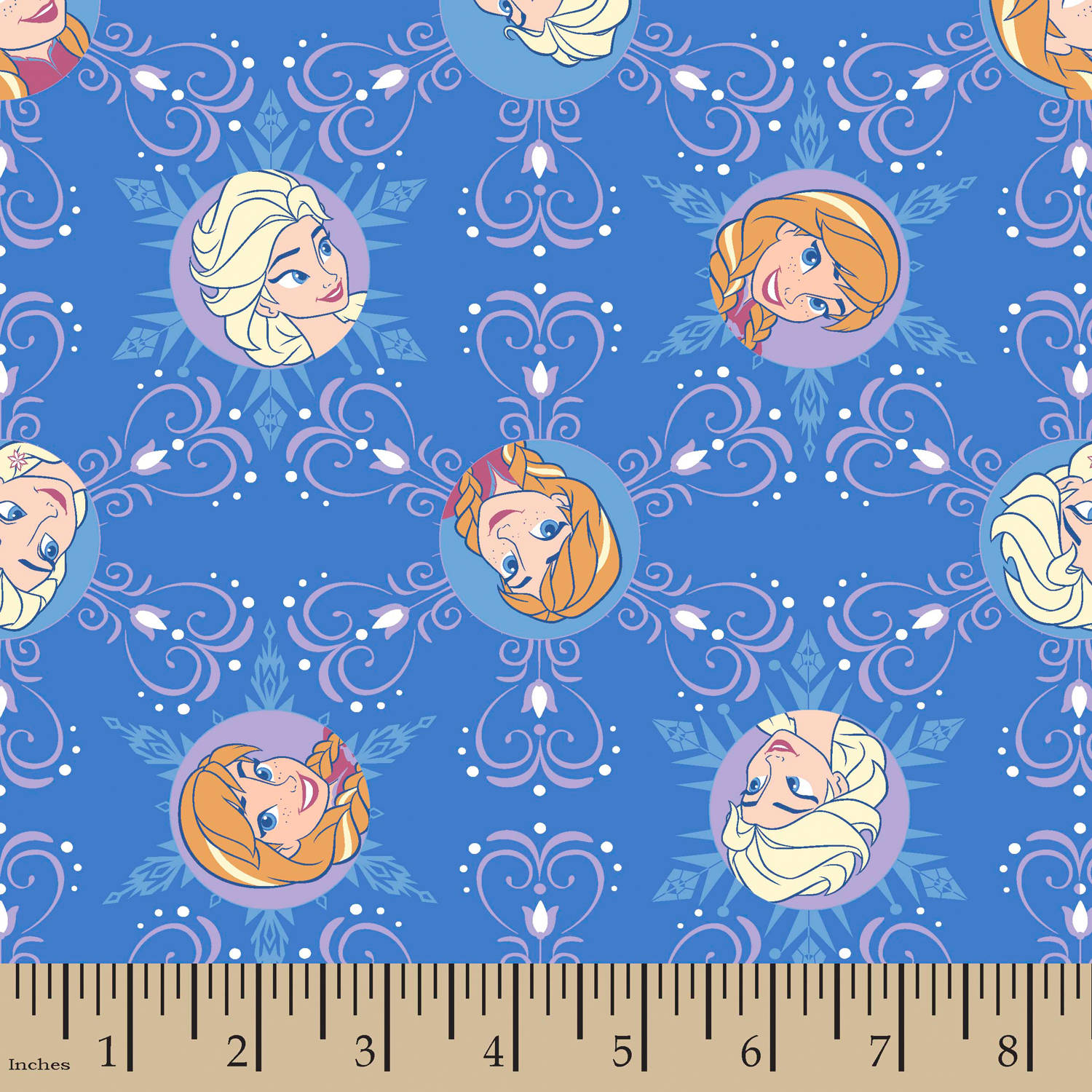 "Disney Frozen Winter Sisters Winter Magic Snowflake Badges, Corduroy, Blue, 43/44"" Width, Fabric by the Yard"