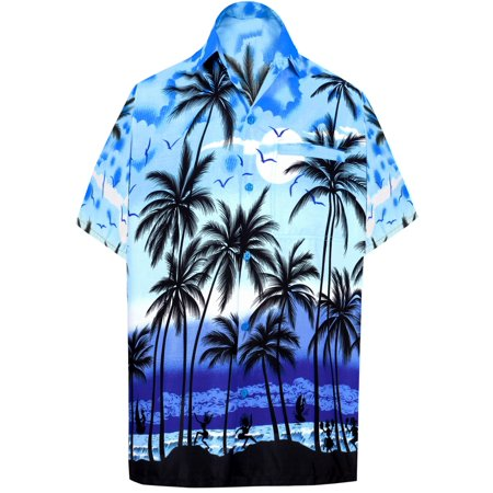 - Men's Beach button down Hawaiian Men's Front Pocket Aloha Hawaiian Tropical ShirtBlue_W136