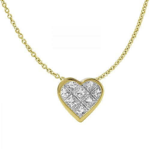 Ladies 1.18 Carat Diamond 18K Yellow Gold Necklace by Generic