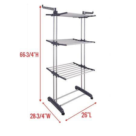 Laundry Air (Koval Inc. 3-Tier Laundry Clothes Air Cloth Drying Stand (3 Tier, Black))