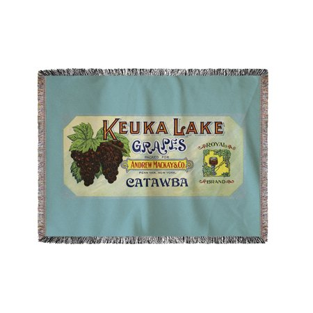 Penn Yan  New York   Royal Brand Keuka Lake Grapes Label  60X80 Woven Chenille Yarn Blanket