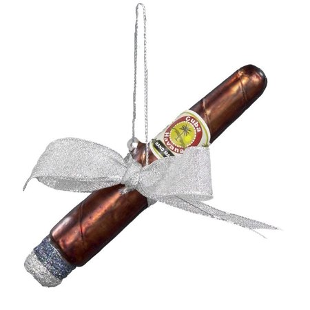Noble Gems Cuban Cigar with Ribbon and Bow Glass Christmas Ornament NB0055 New