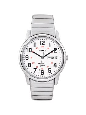 Men's Easy Reader Watch, Silver-Tone Extra-Long Stainless Steel Expansion Band