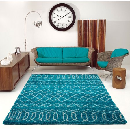 Ladole Rugs Turquoise Indoor Solid Plain Shag Soft Area