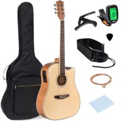 Best Choice Products 41in Full Size Acoustic Electric Cutaway Guitar Set w/ Capo, E-Tuner, Bag, Picks, Strap - Natural