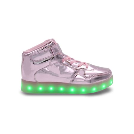 Pink Tennis Shoe (Galaxy LED Shoes Light Up USB Charging High Top Strap & Lace Women's Sneakers (Pink)