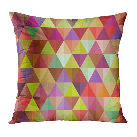 BOSDECO Pink Color Colorful Pattern of Geometric Shapes Beautiful Mosaic Yellow Retro Artistic Cell Connection Pillowcase Pillow Cover Cushion Case 20x20 inch - image 1 of 1
