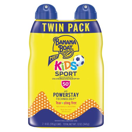 Banana Boat Kids Sport Sunscreen Lotion Spray SPF 50+, 12 Oz Twin Pack, Packaging May Vary