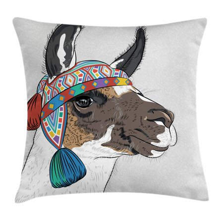 Llama Throw Pillow Cushion Cover Alpaca With An Ethnic Colorful Hat Stunning Peruvian Decorative Pillows