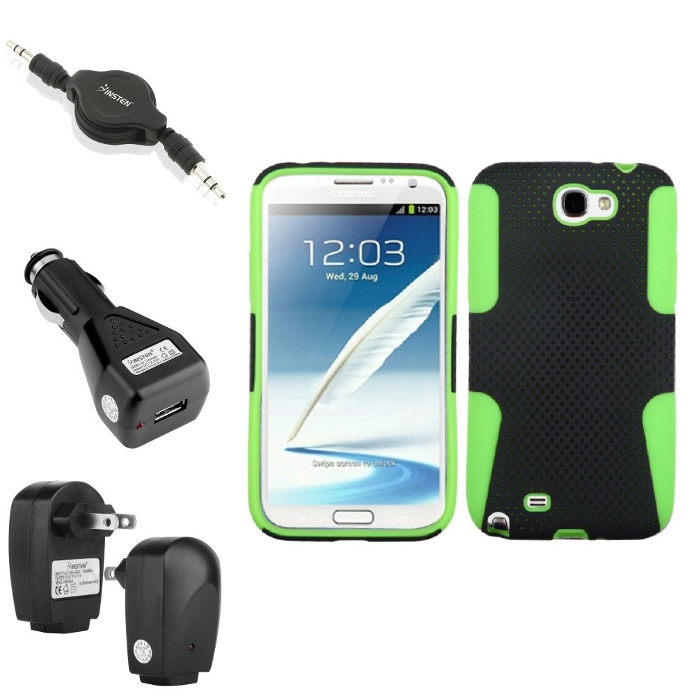 Insten Green/Black Hybrid Case 2x Charger Audio Cable For Samsung Galaxy Note 2 II