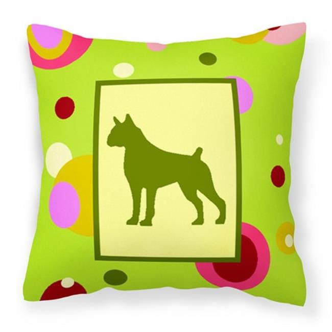 Carolines Treasures CK1075PW1414 Lime Green Dots Boxer Fabric Decorative Pillow, 14 x 3 x 14 in. - image 1 de 1