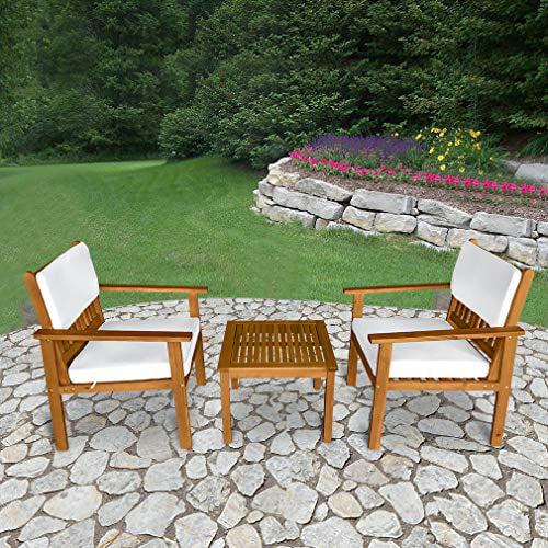 3 Piece Acacia Wood Patio Bistro Set Outdoor Chat