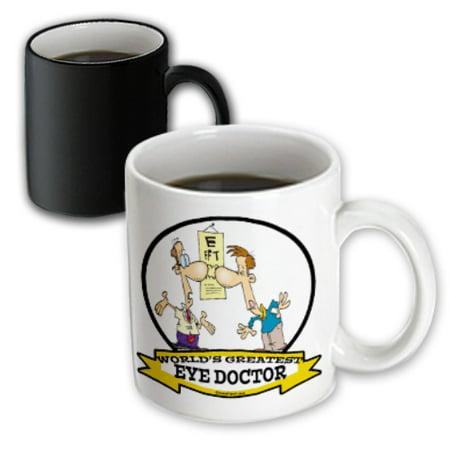 3dRose Funny Worlds Greatest Eye Doctor Cartoon - Magic Transforming Mug, 11-ounce (Cartoon Eye)
