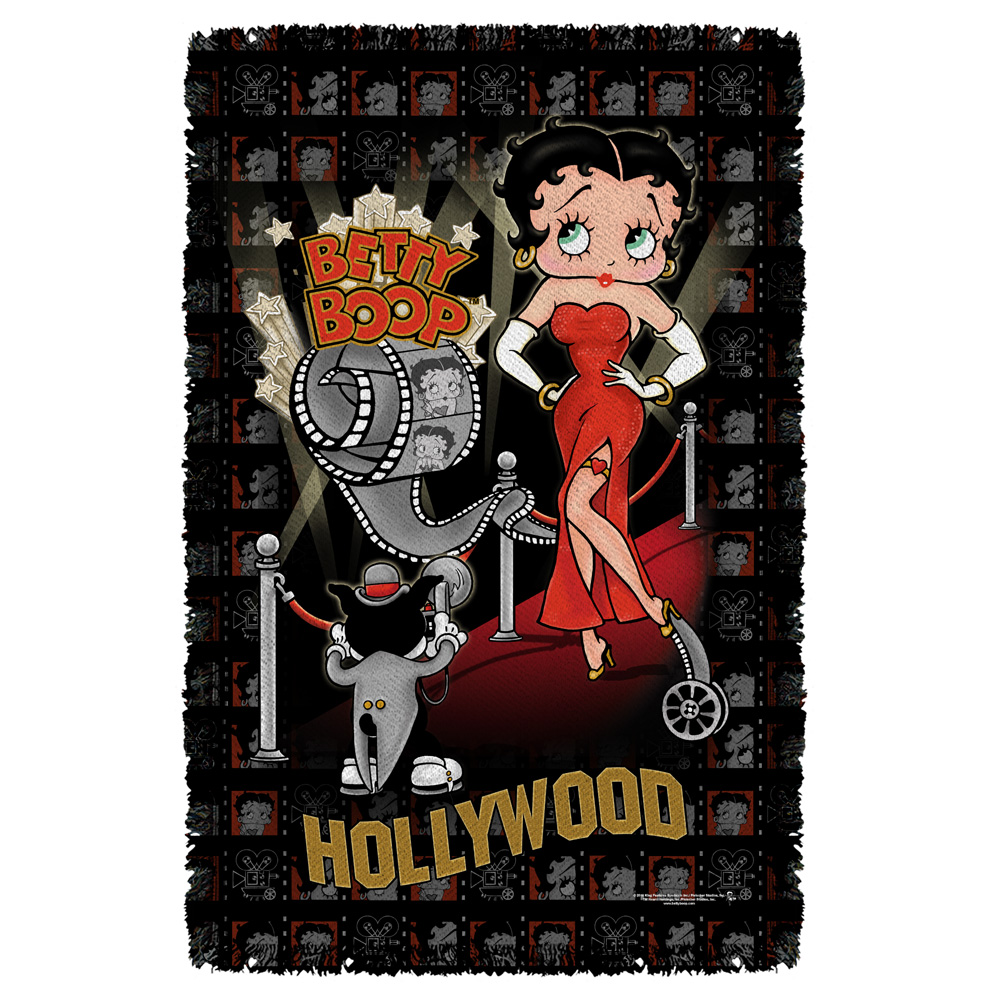 Betty Boop Hollywood Nights Woven Throw White 48X80