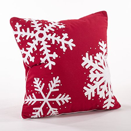 Fennco Styles Home Décor Happy Holiday Decorative Studded Snowflake Throw Pillow (Novelty Snowflake)