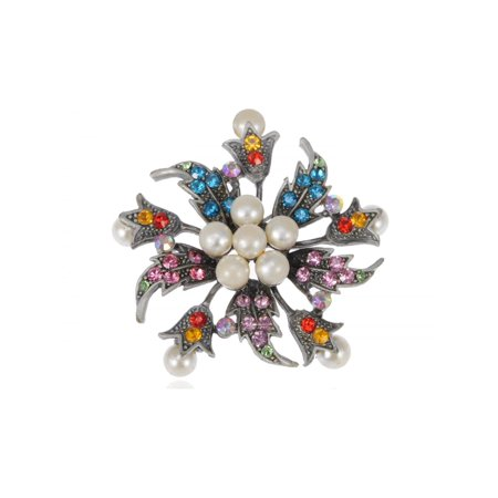 Holiday Flower Wreath Faux Pearl Rhinestone Fashion Costume Jewelry Pin Brooch