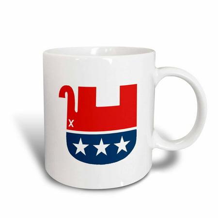 3dRose Dead Conservative Mascot, Ceramic Mug, 11-ounce