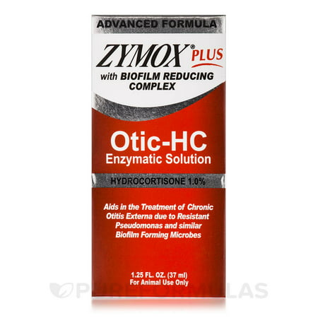 Zymox PLUS Otic-Hydrocortisone Pet Ear Cleaner, 1.25 oz. (Zymox Otic Enzymatic Solution For Pet Ears)