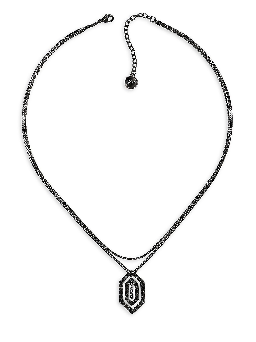 Deco Swarovski Crystal & Crystal Concentric Pendant Necklace