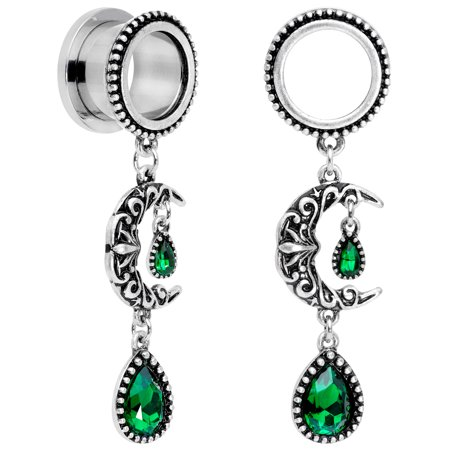 "Body Candy Womens 9/16"" 2Pc Steel Green Accent Moon Dangle Screw Fit Tunnel Plug Ear Plug Gauges 14mm Green Titanium Screw Fit Tunnels"