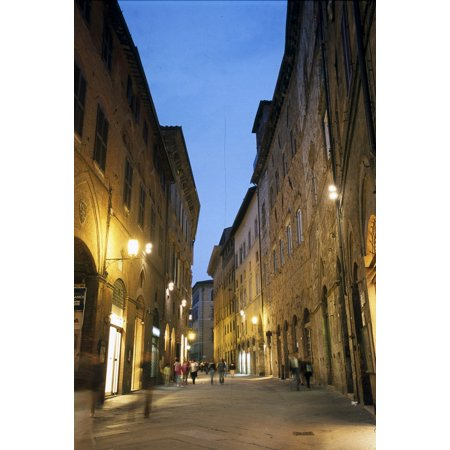Italy Siena Streets Of The City Center At Sunset  AisaEverett Collection Poster Print