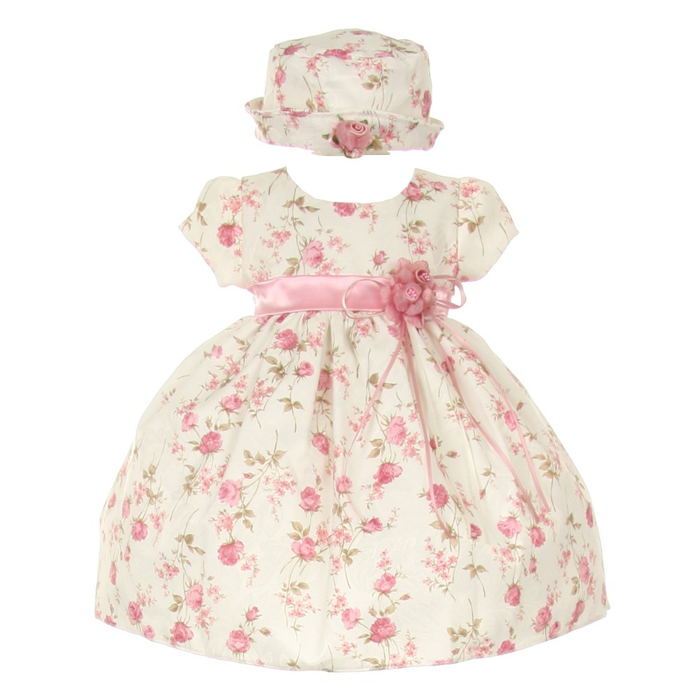 Baby Girls Pink Jacquard Floral Printed Satin Rosette Sash Easter Dress 6-24M