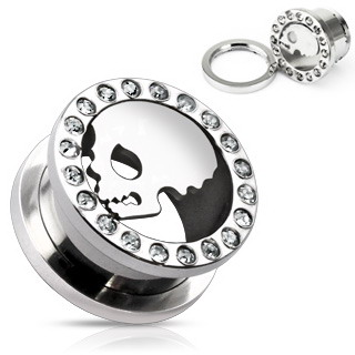 Silver Tone Skull Screw On Flared Tunnel Plug (0 G) - Jewel Encrusted (8 mm)