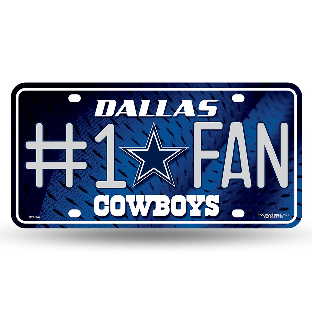 Rico Industries Dallas Cowboys NFL Metal Tag License Plate (#1 Fan)