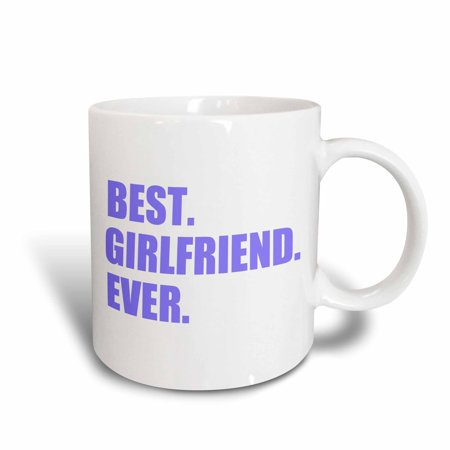 3dRose Purple Best Girlfriend Ever text - anniversary valentines day gift, Ceramic Mug,