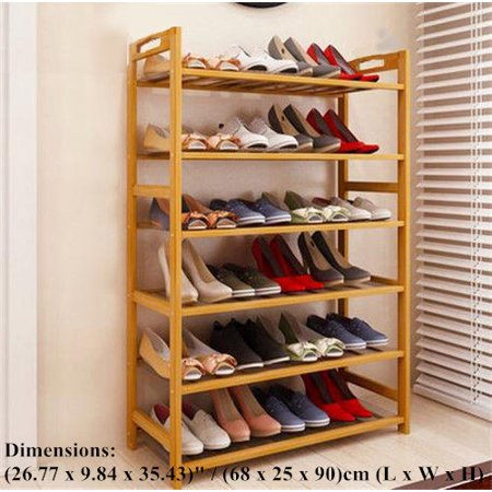 (Zimtown 6 Tier Natural Wood Bamboo Shelf Entryway Storage Shoe Rack Home Furniture)
