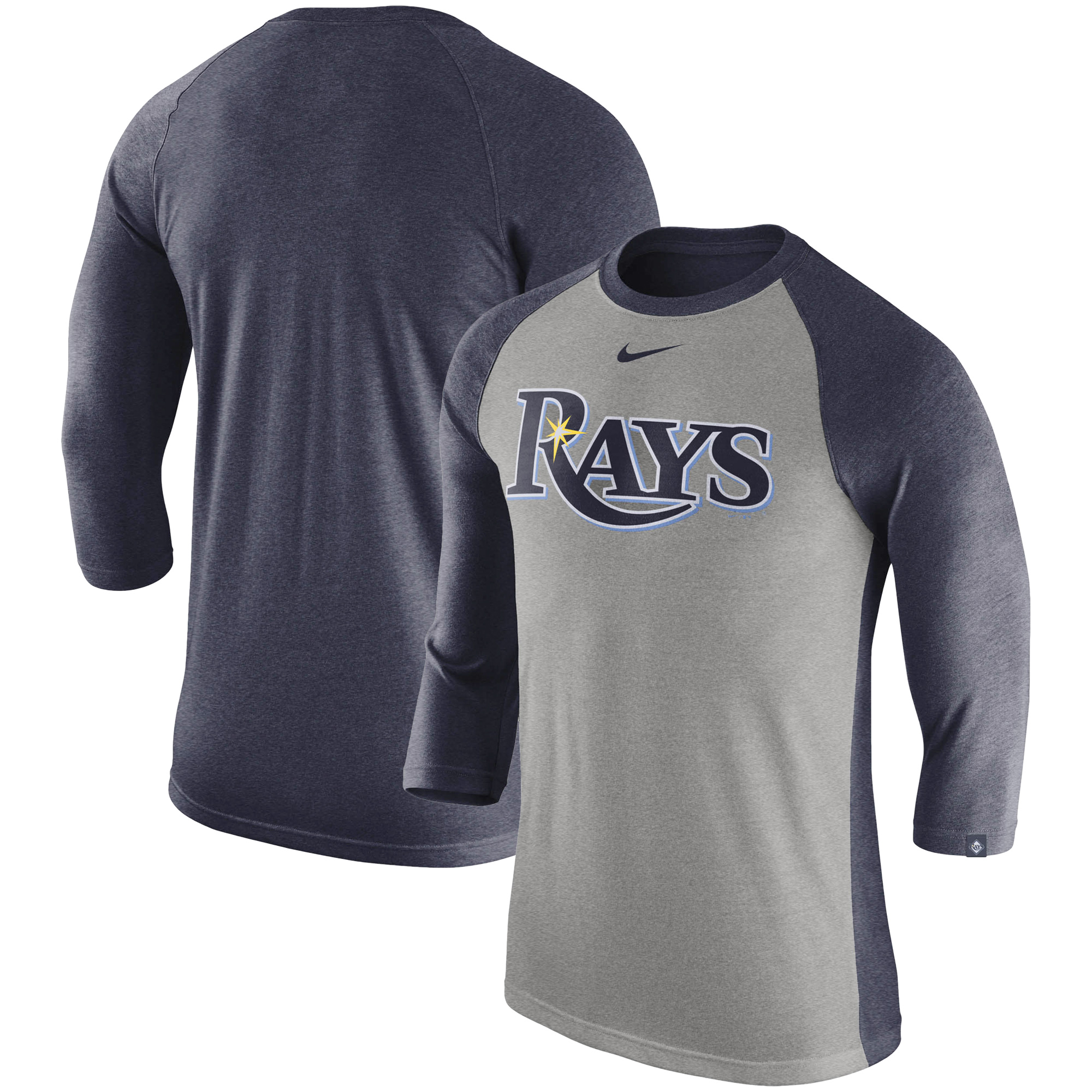 Tampa Bay Rays Nike 3/4-Sleeve Tri-Blend Raglan T-Shirt - Heathered Gray