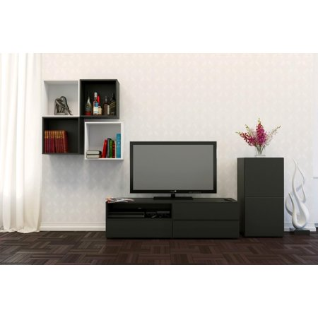 "Traffic Entertainment Kit with Avenue 60"" TV Stand, a 1-Door Storage Unit, & Decorative Wall Cubes"