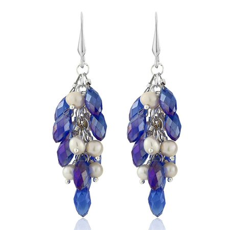 Aurora Blue Cluster Faceted Crystal Earrings with Cultured Freshwater (Cultured Freshwater Pearl Cluster)