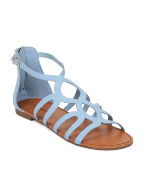 af44b64e2a25 Product Image Women Nubuck Open Toe Gladiator Flat Sandal HB10