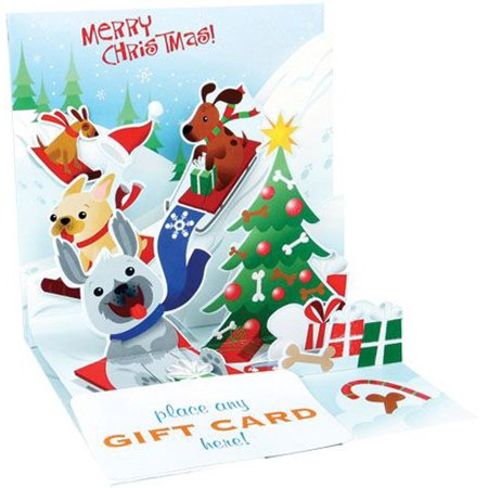 Up With Paper Sledding Dogs Pop-Up Christmas Gift Card Holder