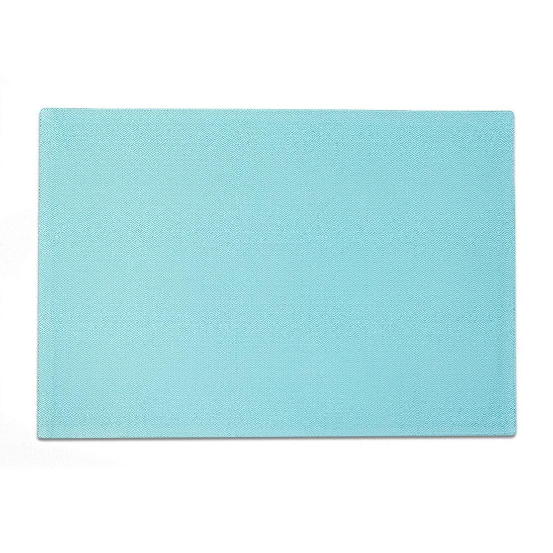 Linen Tablecloth Diamond Texture Premium Placemat Set (Set of 4), Sky Blue by Linen Tablecloth