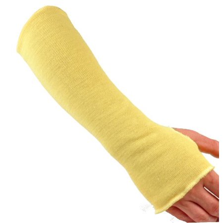 G & F 58123-1 100% Kevlar 18-Inch Cut Resistant Knit Sleeve with Thumb Hole, Yellow, Sold by 1 piece