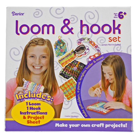 Potholder Loom & Hook Kit - Square Plastic Loom, Double-Sided Hook, Instructions, and Project Sheet - Make Potholders and Hot Pads for Pots, Pans, and More - Ages 6+