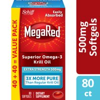 MegaRed Superior Omega-3 Krill Oil Extra Strength Softgels, 500 mg, 80 ct,