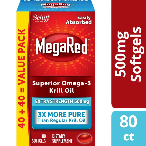 MegaRed Superior Omega-3 Krill Oil Extra Strength Softgels, 500 mg, 80 ct