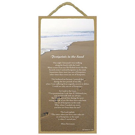 FOOTPRINTS IN THE SAND Primitive Wood Hanging Sign 5