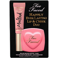 Too Faced Cosmetics Happily Ever Lasting Lip and Cheek Duo, Nude Melted Lipstick, Love Hangover Love Flush Blush, 2-Piece Set
