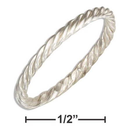 P-020740-09 9 in. Sterling Silver Wire Rope Band Ring - image 1 de 1